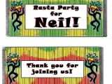 Reggae themed Party Invitations Reggae Personalized Candy Bars Shindigz