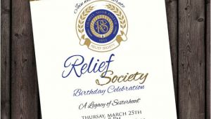 Relief society Birthday Invitation Template Customized Wording Relief society Birthday Party Invitation