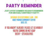 Reminder Invitation for Party Birthday Invitation Reminder Message Birthday Tale