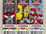 Rescue Bots Party Invitations Personalized Transformers Rescue Bots Birthday Ticket
