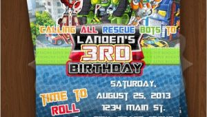 Rescue Bots Party Invitations Rescue Bots Invitation Rescue Bots Birthday Invitations