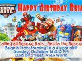 Rescue Bots Party Invitations Transformer Rescue Bots Birthday Invitation or Thank You Note