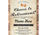 Retirement and Birthday Party Invitation Wording Retirement Party Cheers Beers Wood Pub Invitation