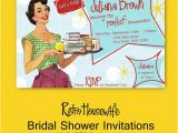 Retro Housewife Bridal Shower Invitations Printable Diy Retro Housewife theme Bridal Shower Party