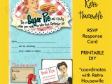 Retro Housewife Bridal Shower Invitations Printable Diy Retro Housewife theme Bridal Shower Party Rsvp
