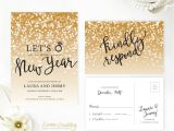 Ring In the New Year Wedding Invite New Year 39 S Eve Wedding Invitation with Rsvp Card Gold