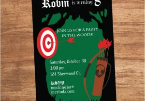 Robin Hood Birthday Party Invitations Bow and Arrow Robin Hood forest Party Invitation