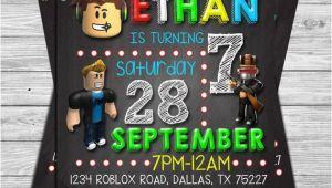Roblox Party Invitation Template Roblox Birthday Invitation Roblox Chalkboard Invitation