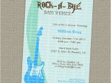 Rock A bye Baby Shower Invitations Rock A bye Baby Boy Shower Invitation with Guitar Printable