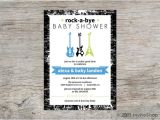 Rock A bye Baby Shower Invitations Rock A bye Baby Guitars Shower Invitation