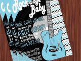 Rock and Roll Baby Shower Invitations Rock and Roll Baby Shower Invitation Blue Silver Mimi S