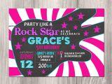 Rock Star Birthday Party Invitation Wording Rock Star Birthday Invitation Girl Rock Star Invitation