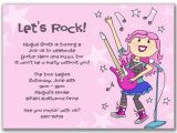 Rock Star Birthday Party Invitation Wording Rock Star Girl Invitations for A Kids Birthday Party by Milelj
