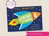 Rocket Ship Birthday Party Invitations Rocket Ship Birthday Invitation Outerspace Invitation