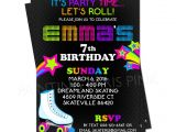 Roller Skating Invitations for Birthday Party Neon Roller Skating Birthday Party Invitation
