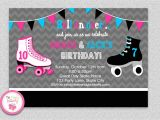 Roller Skating Invitations for Birthday Party Siblings Roller Skating Birthday Invitation by