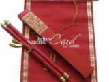 Rolling Wedding Invitation Cards S862 Red Color Shimmery Finish Paper Scroll Invitations