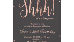 Rose Gold Birthday Invitation Template Free Rose Gold Surprise Birthday Party Invitation Zazzle Com