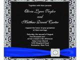 Royal Blue and Black Wedding Invitations Royal Blue Black Silver Lace Wedding Invitation Zazzle