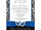 Royal Blue and Black Wedding Invitations Wedding Invitation Optional Photo Royal Blue White