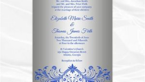 Royal Blue and Silver Bridal Shower Invitations Royal Blue and Silver Wedding Invitation Template Diy