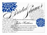 Royal Blue and Silver Bridal Shower Invitations Royal Blue Silver Gray Floral Burst Bridal Shower 5 Quot X 7