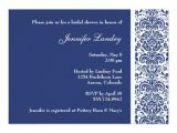 Royal Blue Bridal Shower Invitations Royal Blue Damask Bridal Shower Invitation Zazzle