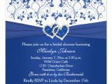 Royal Blue Bridal Shower Invitations Royal Blue White Floral Hearts Bridal Shower 5 25×5 25