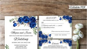 Royal Blue Wedding Invitation Template Blue Wedding Invitation Template Royal Blue Wedding