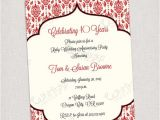 Ruby Wedding Anniversary Party Invitations 40th Ruby Anniversary Invitation Printable Digital File