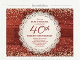 Ruby Wedding Anniversary Party Invitations 40th Wedding Anniversary Invitation Ruby Anniversary Party