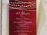 Ruby Wedding Anniversary Party Invitations Red Fairy Lights 40th Ruby Wedding Anniversary