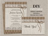 Rustic Bridal Shower Invitations with Matching Recipe Cards Rustic Bridal Shower Invitation Set with Thank You Card Diy