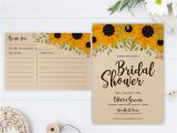Rustic Bridal Shower Invitations with Matching Recipe Cards Sunflower Bridal Shower Invitation and Recipe Card Rustic