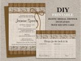 Rustic Bridal Shower Invitations with Recipe Cards Diy Printable Rustic Bridal Shower Invitation with Recipe