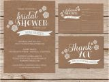 Rustic Bridal Shower Invitations with Recipe Cards Rustic Bridal Shower Invitation Recipe Card and Thank You