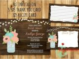 Rustic Bridal Shower Invitations with Recipe Cards Rustic Mason Jar Bridal Shower Invitation Recipe Card