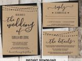 Rustic Wedding Invitation Template Pin by Instant Invitation On Wedding Invitation Templates