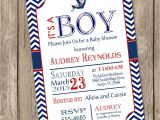 Sailor themed Baby Shower Invitations Chevron Nautical Baby Shower Invitation Red Blue Anchor