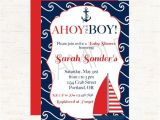 Sailor themed Baby Shower Invitations Nautical Sailboat and Anchor theme Baby Shower Invitation