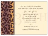 Sample 30th Birthday Invitation Wording Cheetah 30th Birthday Invitations