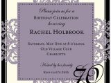 Sample 70th Birthday Invitation Wording Decorative Square Border Eggplant 70th Birthday