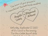 Sample Beach Wedding Invitation Wording Beach Wedding Invitation with Hearts In Sand Seagulls and