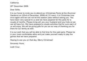 Sample Of Invitation Letter for Christmas Party 2018 Invitation Letter Template Fillable Printable Pdf