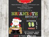 Santa Birthday Party Invitations Santa Birthday Party Invitation Chalkboard Personalized