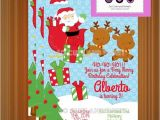 Santa Birthday Party Invitations Santa Claus Birthday Invitation Christmas Party by