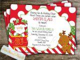 Santa Birthday Party Invitations Santa Invitation Christmas Holiday Breakfast Pancake by