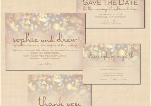 Save the Date and Wedding Invitation Packages French Champagne Sparkles Text Editable Save the Date