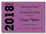 Save the Date Graduation Invitations Shimmery Purple Graduation Save the Date Cards