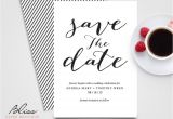 Save the Date Vs Wedding Invitations Black and White Custom Printable Save the Date Save the